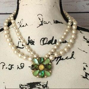 "Vtg Faux Pearl Green Jewel 17"" Fashion Choker"